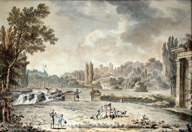 Georg Friedrich Meyer, Rousseau parmi les Girardin à Ermenonville.png