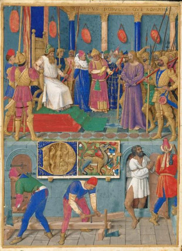Livres d'Heures d'Etienne Chevalier, de Jean Fouquet, Jésus devant Pilate.png