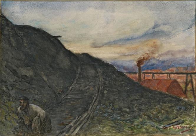 Constantin Meunier, La descene du terril, aquarelle.png