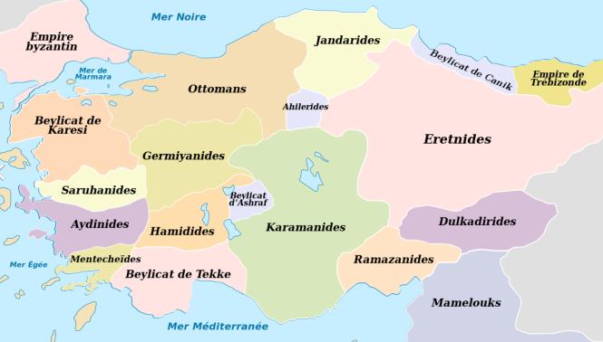 10 Dans la désagrégation de l'empire seldjoukide, en particulier sous les coups mongols, les Osmanlis ne sont qu'un beylicat parmi d'autres - ici vers 1330 .png
