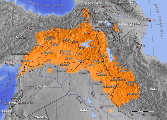 13 Présence importante de populations kurdes aujourd'hui - variées mais d'origine peut-être iranienne, précocement, et diversement ralliées à l'islam.png