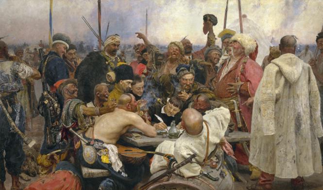 20-5m Ilya Repin, Les Cosaques Zaporogues de Sitch répondent au sultan Mehmed IV.png