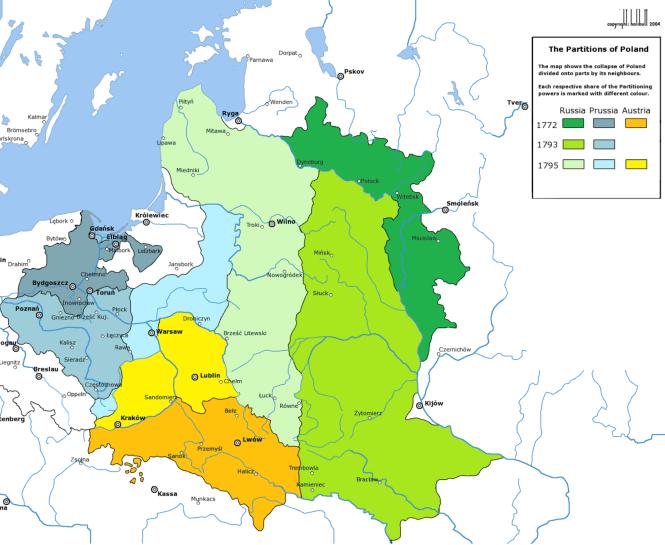 20-7 Les trois partages de la Pologne dans le dernier tiers du XVIIIe siècle.png
