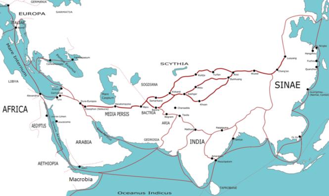 6a2 Les routes est-ouest dans les siècles précédant l'ère chrétienne et dans les premiers siècles de celle-ci.png