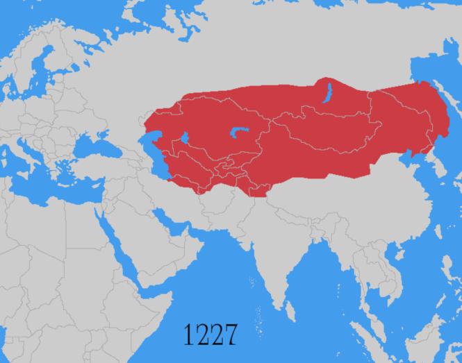 9d Empire mongol 1227 à la fin du règne de Gengis Khan.png