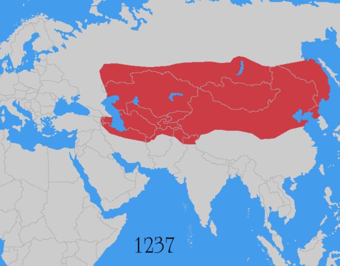 9e Empire mongol 1237 sous Ögödeï Khan, toujours tengriste fils de Gengis - conquête des steppes russes et création de la Horde d'Or.png