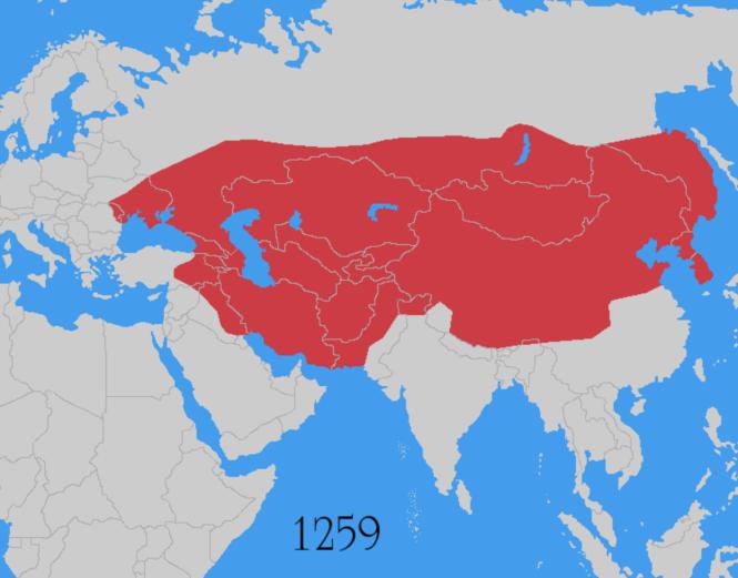 9f Empire mongol 1259 à la fin du règne de Möngke, petit-fils de Gengis, mais issu d'une autre branche. Bagdad - dominée par les Seldjoukides - a été détruite et ses habitants exterminés en 1258.png