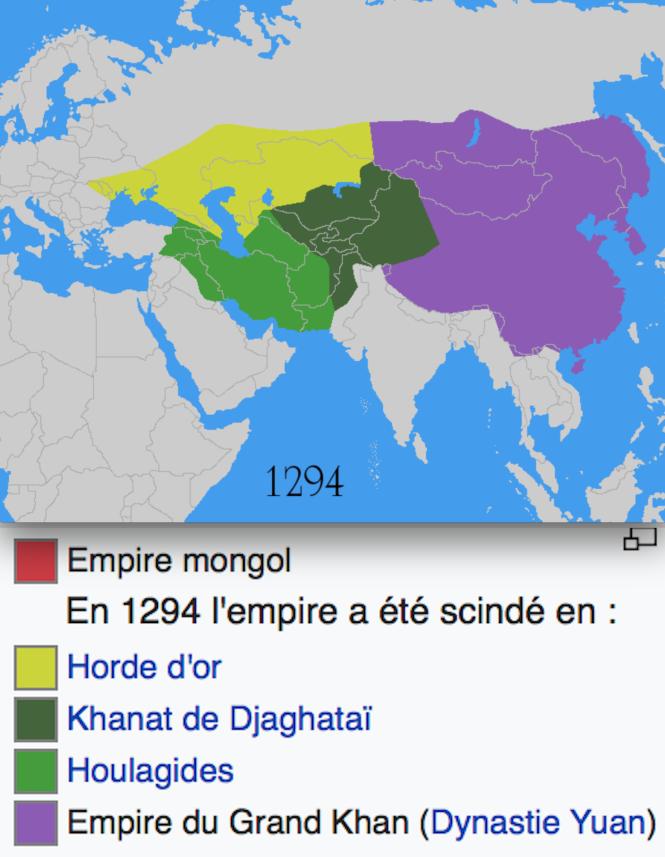 9h La division de l'Empire mongol en 1294 à la mort de Kubilaï, devenu empereur de Chine - Partout les mongols sont assez syncrétistes ; en Chine ils adoptent souvent le bouddhisme, à l'ouest l'islam.png