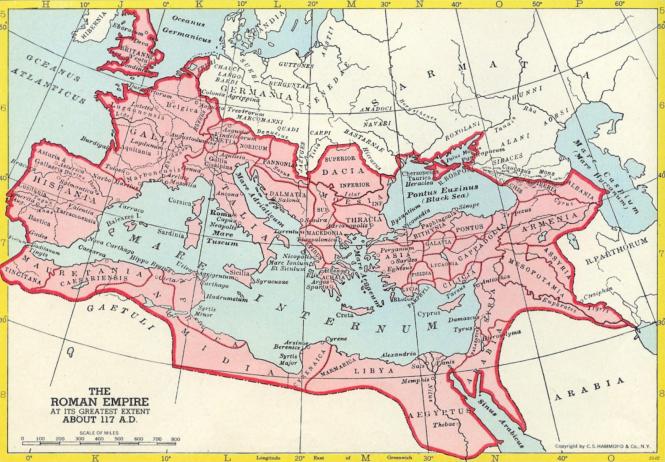 e L'Empire romain en 117, lors de son extension maximale sous les Antonins, à la fin du règne de Trajan et lors de l'accès au trône d'Hadrien.png