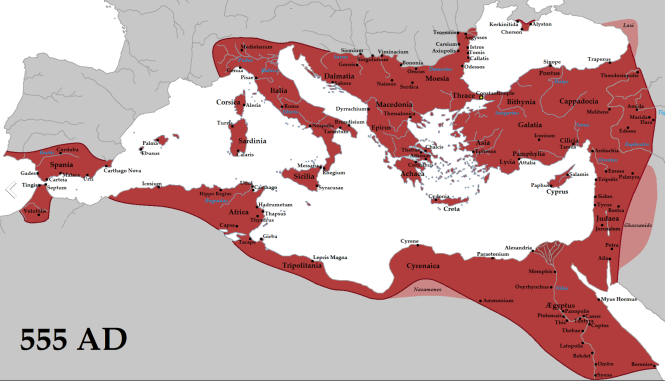 f L'Empire romain d'Orient dans son extension maximale sous Justinien en 555 pjc.png