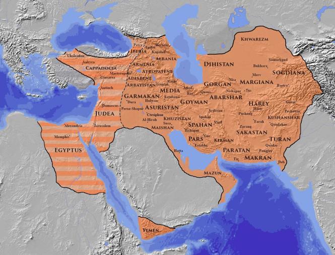 g L'empire iranien sassanide lors de son extension maximale, sous Chosroès II, au début du VIIe siècle.png