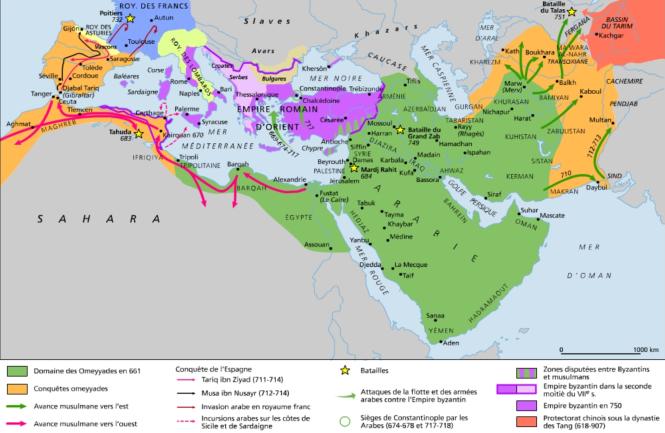 h L'expansion musulmane au temps des califes omeyyades de Damas, à la fin du VIIe et au début du VIIIe siècles.png