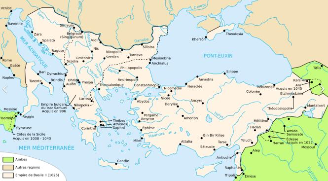 i L'Empire romain d'Orient sous Basile II en 1025.png