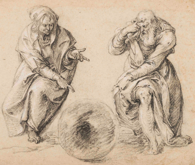 Jacques de Gheyn, Démocrite et Héraclite.png