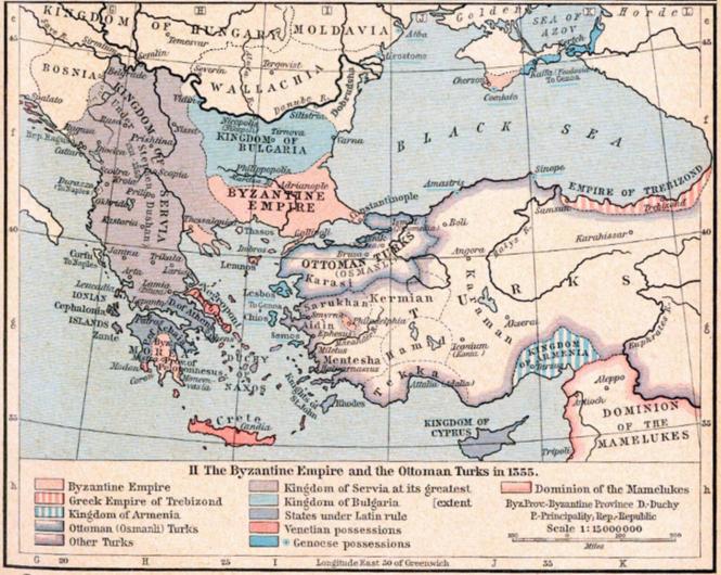 k Au milieu du XIVe siècle, l'Empire byzantin réduit à sa plus simple expression face aux Osmanli.png
