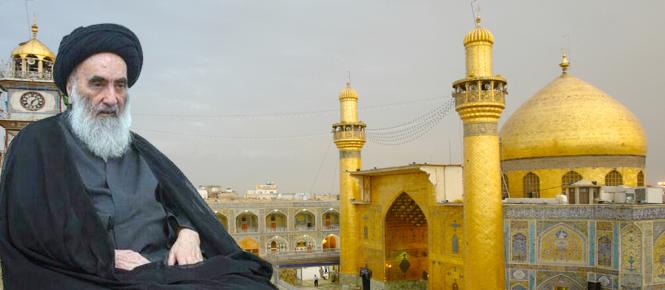 Le Marjah Sistani devant la Mosquée de l'imam Ali à Nadjaf.png