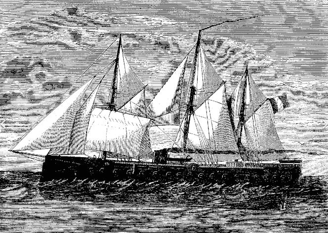 """""""La Gloire"""", l'une des premières frégates cuirassées, mise en service par la France dès 1858.png"""