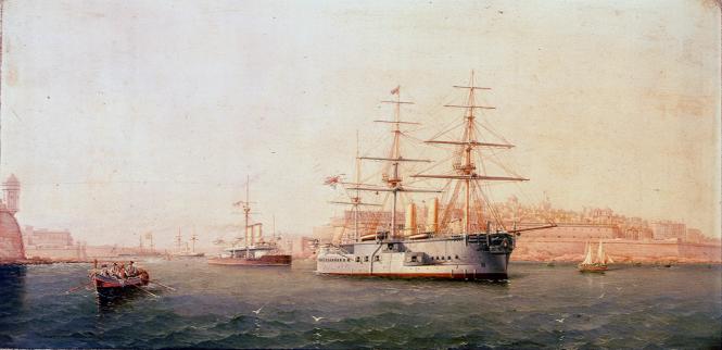Giancinto Gianni, le cuirassé HMS Alexandra quittant La Valette.png