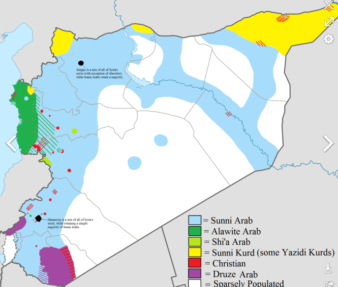 16 Grossière répartition ethnico-religieuse en Syrie en 2012.png