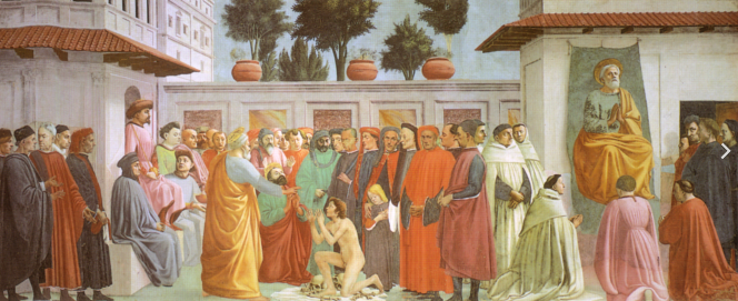 Masaccio Résurrection du fils de Théophile et saint Pierre sur le Trône.png