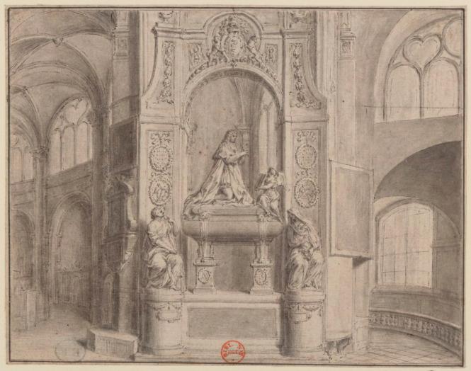 Le tombeau de Colbert avant la Révolution - dessin de Delamonce.png
