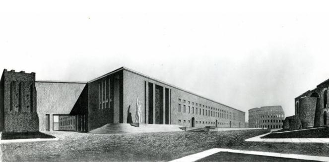 Premier projet de 1934 de l'équipe Morpurgo pour le Palazzo del Littorio.png