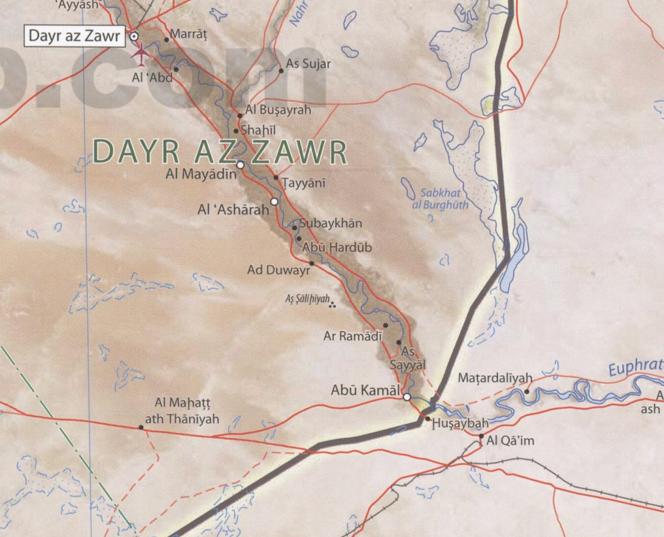La route d'al-Qaem à Abou Kaman, enjeu stratégique pour Damas et Téhéran.png