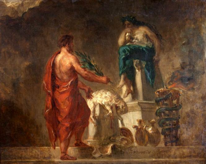 Delacroix, Lycurgue consulte la Pythie.png