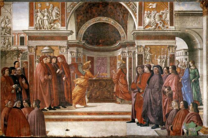 Ghirlandaio, l'une des compositions de la chapelle Tornabuoni.png