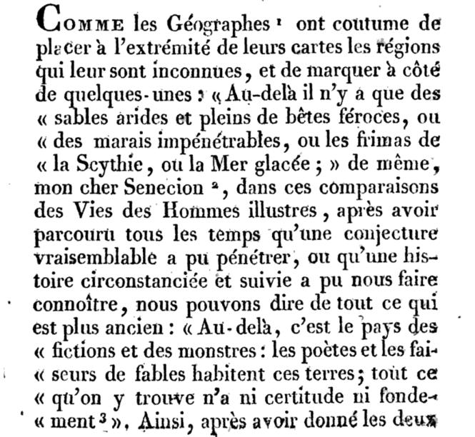 La traduction Dacier des Vies de Plutarque - Thésée - premières lignes.png