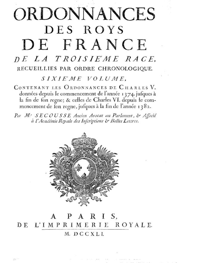 le tome VI des Ordonnances des roys de France, l'un des volumes donnés par Secousse.png