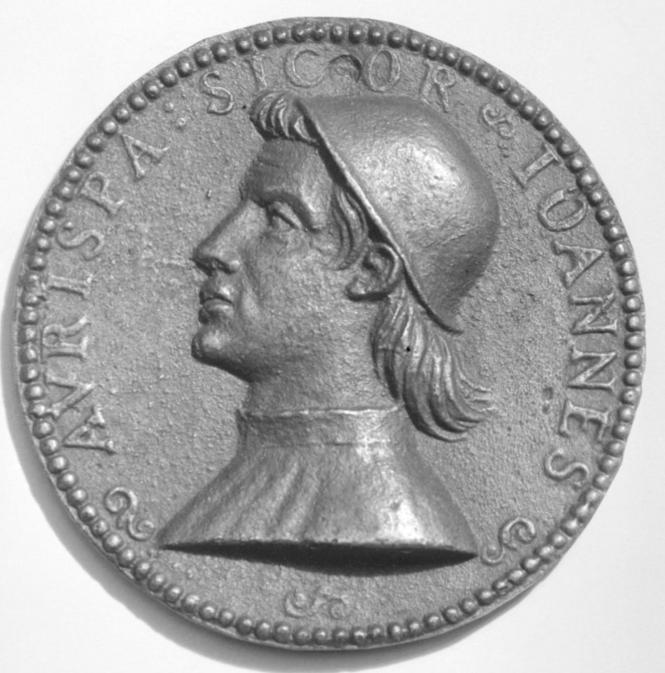 Médaille en bronze de Giovanni Aurispa, sans doute du XVIe et non du XVe.png