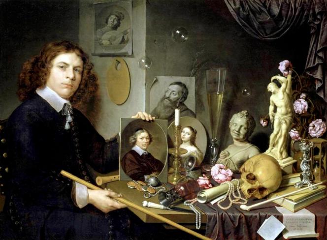 David Bailly, c. 1650, Le peintre se représente jeune alors qu'il a l'âge de.png
