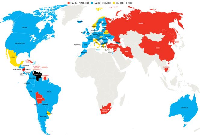 Soutiens internationaux respectifs de MM Maduro et Guaido.png
