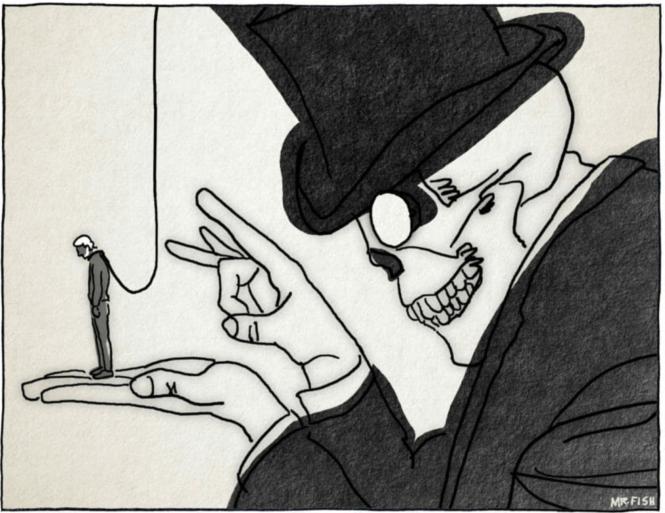 dessin publié par les Crises à l'occasion de l'arrestation de Julian Assange.png