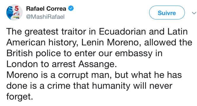 Le tweet immédiat du président Correa le 12 avril.png