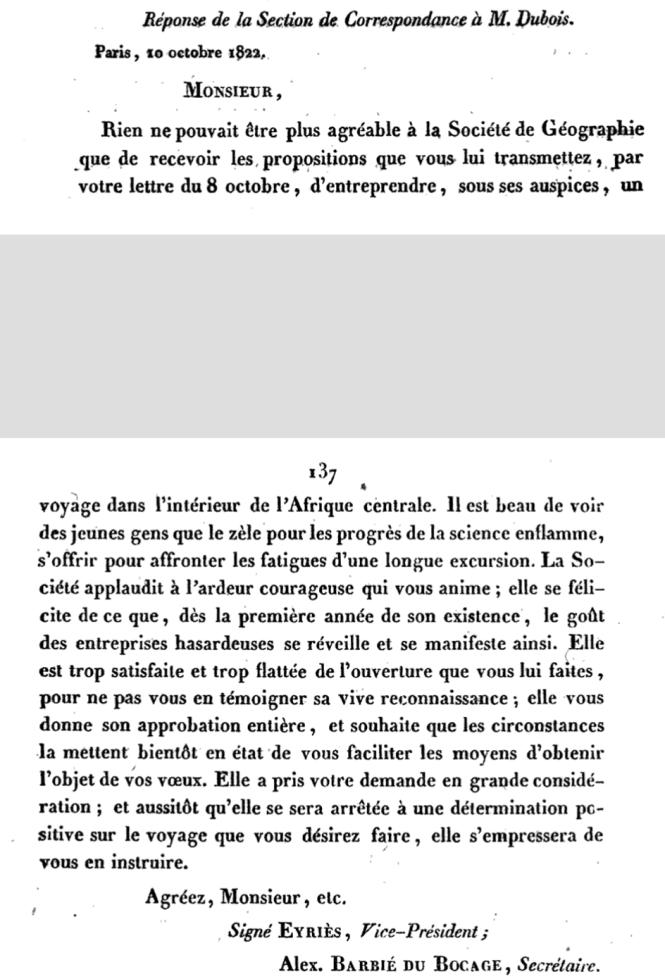 66a La réponse de la Société de Géographie à Dubois en 1822.png