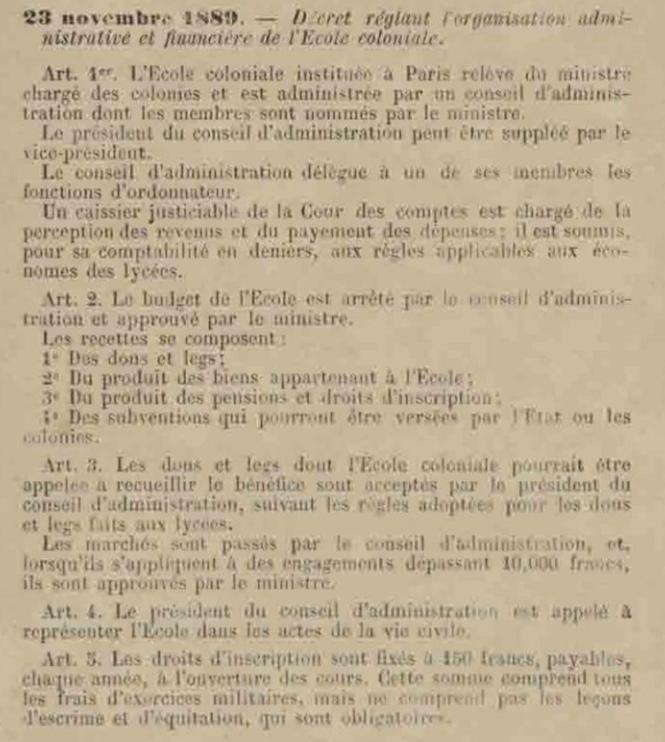 77 Décret du 23 XI 1889 portant organisation de l'Ecole Coloniale.png