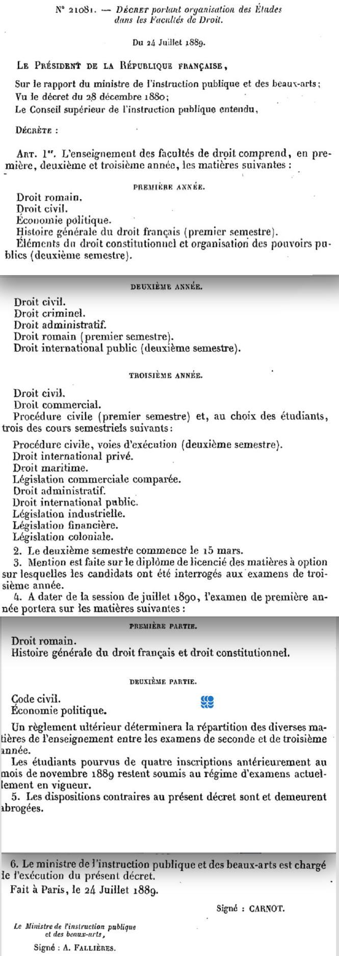 78 Décret du 24 juillet 1889 portant organisation des études dans les Facultés de droit.png