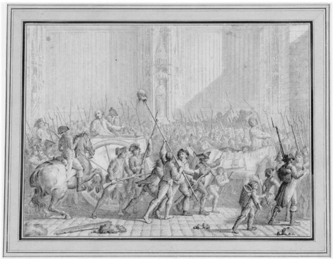 Jean-Louis Prieur, dessin, conduit au supplice, Bertier de Sauvignu reconnaît au bout f'une pique la tête de son beau-père, Foulon - Carnavalet.png