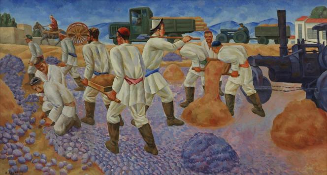 Nikolaï Karakhan - une toile d'une suite de 1932 sur les grands travaux en Ouzbékistan.png