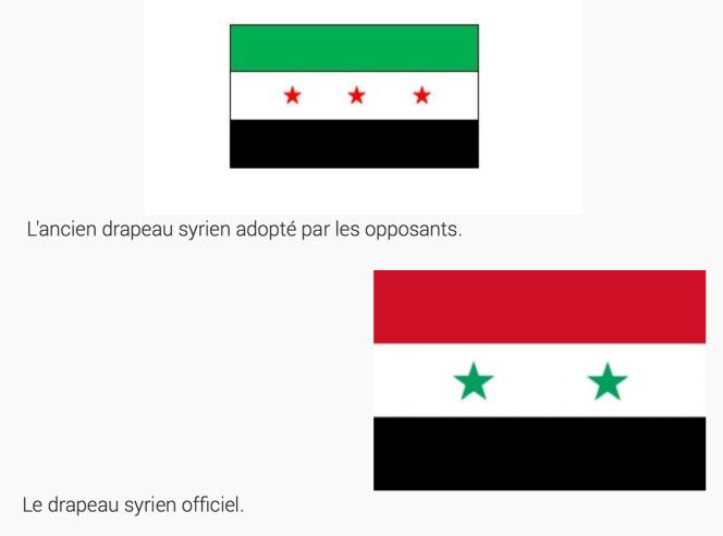 drapeau de la Syrie et ancien drapeau repris par l'Armée Syrienne Libre.png