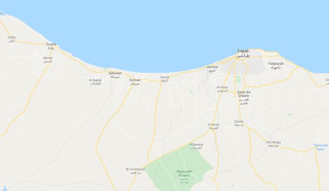 villes reprises autour de Tripoli par les forces du GNA à la mi avril 2020.png